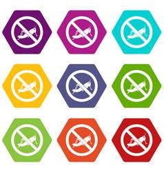No locust sign icon set color hexahedron vector
