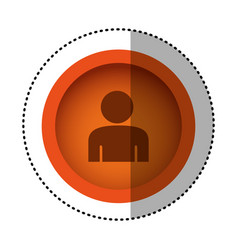 Orange round symbol face person icon vector