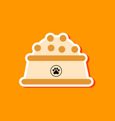 Paper sticker on stylish background dog food bowl vector