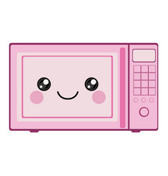 Pink color silhouette of cartoon oven microwave vector