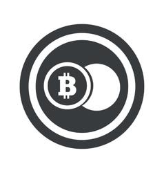 Round black bitcoin coin sign vector