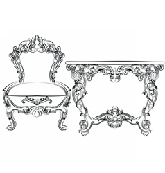 Royal Baroque Classic furniture set vector image