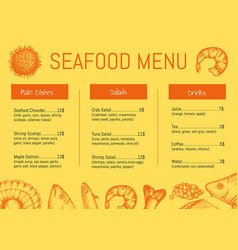 Seafood restaurant menu brochure template vector