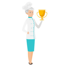 Seinor caucasian chef holding a trophy vector