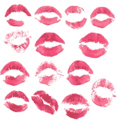 Set of beautiful red lips print on i vector image