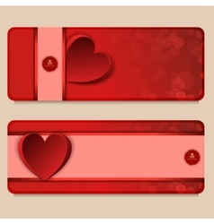 Set of two vertical banners with hearts vector image vector image