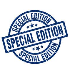 Special edition blue round grunge stamp vector
