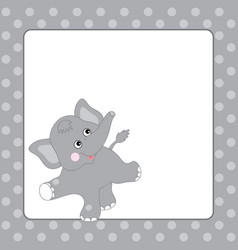 template card with cute elephant vector image