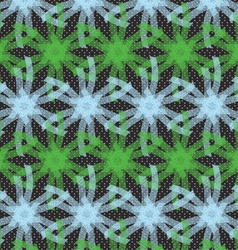 Textured ornament with green and blue linear stars vector image