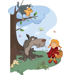 The wolf and the little red riding hood cartoon vector