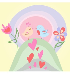 tiny love bird vector image