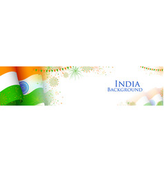 Tricolor india banner for happy independence day vector