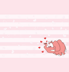 Valentines card with cute elephant vector