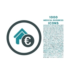 Euro home rent rounded icon with 1000 bonus icons vector