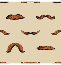 Seamless vintage pattern with mustache vector