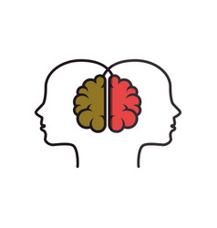 Brain human with human profile creative icon vector