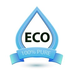 Eco water sign 100 pure water icon template vector