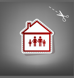 family sign   red icon with vector image