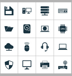 laptop icons set collection of tree dossier vector image