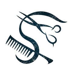 scissors and hairbrush for a hairdresser vector image