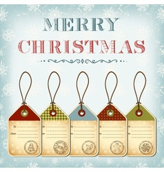 Christmas template of vintage tags with stamps vector