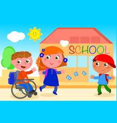 Disabled boy going to school with friends vector