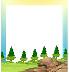 An empty paper template with pine trees and rocks vector