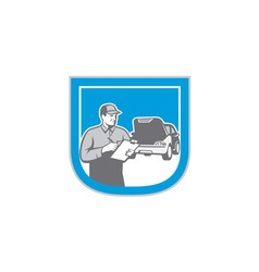Auto Mechanic Automobile Car Repair Check Retro vector image