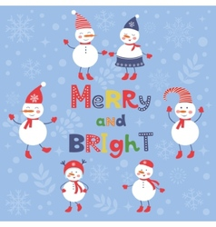 A cute snowmen card for merry and bright christmas vector