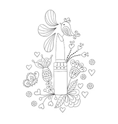 Womens lipstick with flowers and bird vector