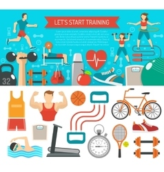 Fitness banner horizontal vector