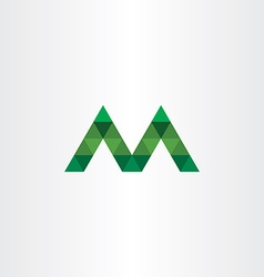 Letter m with green triangles icon vector