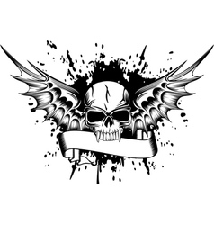 skull with wings 2 vector image