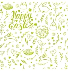 Seamless pattern with hand drawn easter vector