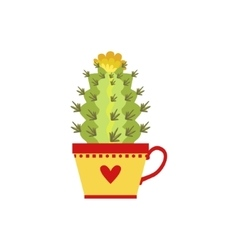 Blooming tall cactus in a cup vector