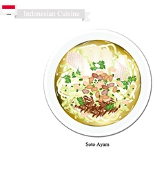 Soto ayam or indonesian rice noodle soup vector