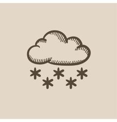 Cloud with snow sketch icon vector
