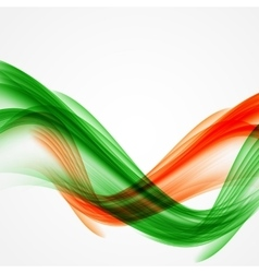 Abstract green and orange wave on white background vector