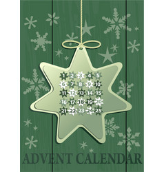 Advent calendar with christmas star vector