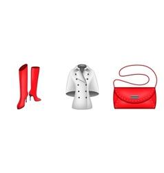 Autumn Icons boots coat handbag vector image