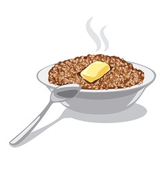buckwheat porridge with butter vector image vector image