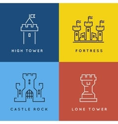 Castle and fortess line style or outlined vector image