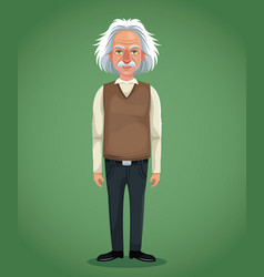 Character scientist physical with vest jeans green vector