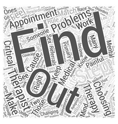Choosing a therapist step word cloud concept vector