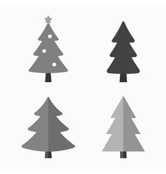 Christmas tree cartoon icons set vector