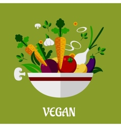 Colorful vegan poster with flat vegetable icons vector