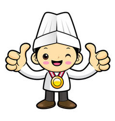 Cook character receive a gold medal isolated on vector
