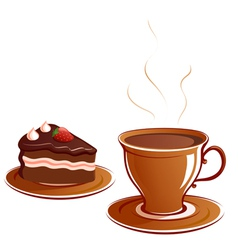 Cup and cake vector image vector image