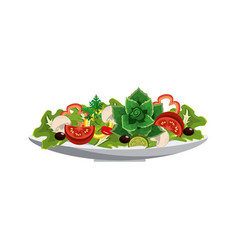 delicious fresh organ salad in the bowl vector image vector image