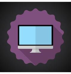 Designer computer desktop flat icon with long vector